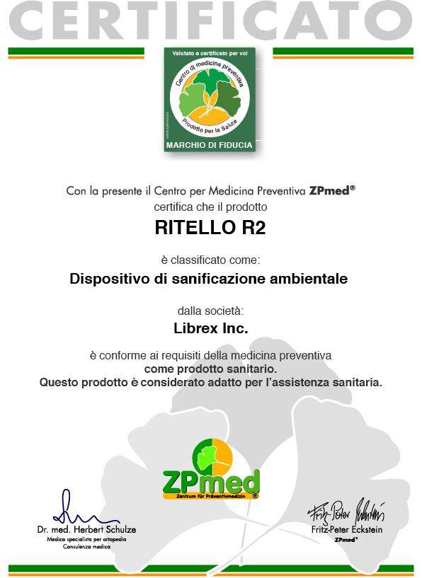 Ritello R2: Dispositivo medico di classe I come Sanificatore d'aria - Depuratore aria ausilio per terapia di soggetti con patologie acute o croniche apparato respiratorio, allergie, asma, depressione apparato immunitario.